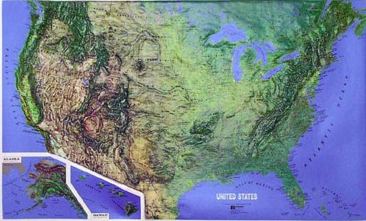 Landform Map Of The United States | Map Of Us Western States