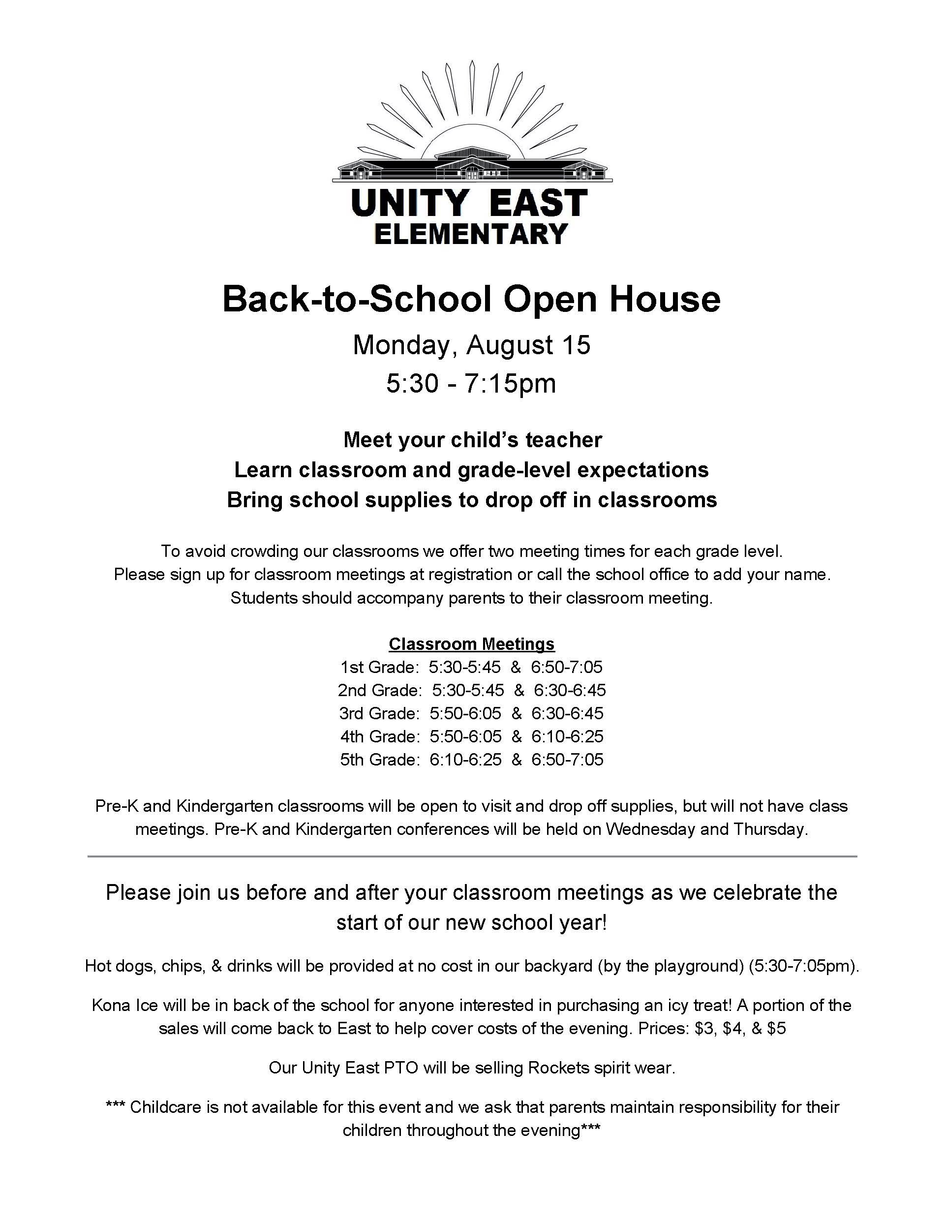 Worksheets Grade 10 Report With Level 7 And 6 And 4 past announcements unity east elementary back to school open house