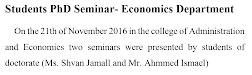Students PhD Seminar- Economics Department