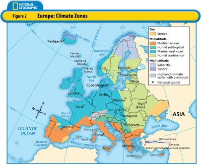 Climate Zone Map Of Asia.Climate Map Of Europe