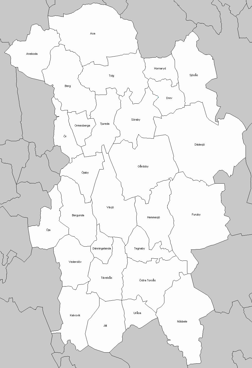 karta över älmhults kommun Socknar i Kronoberg   FredrikKjällbring karta över älmhults kommun
