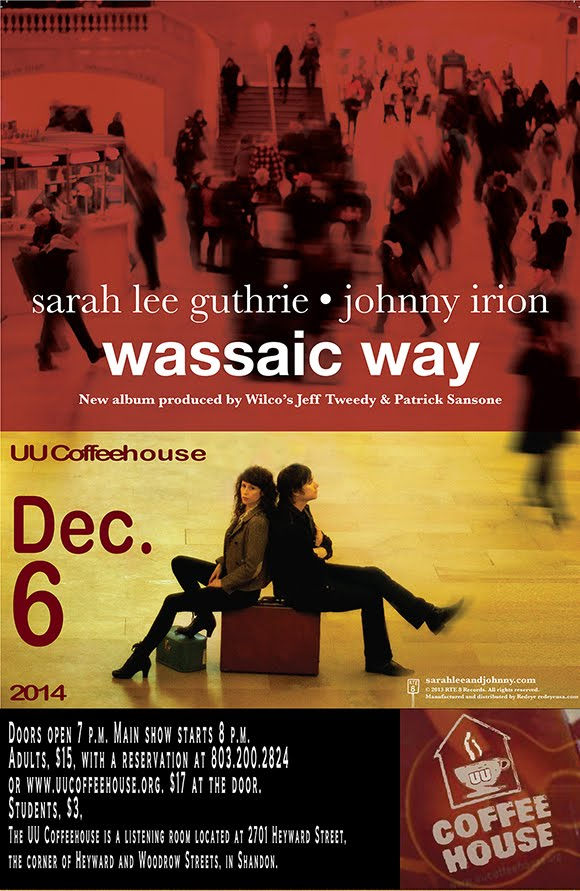 Wassaic Way concert poster. Sarah Lee Guthrie and Johnny Irion at the UU Coffeehouse Dec. 6, 2014