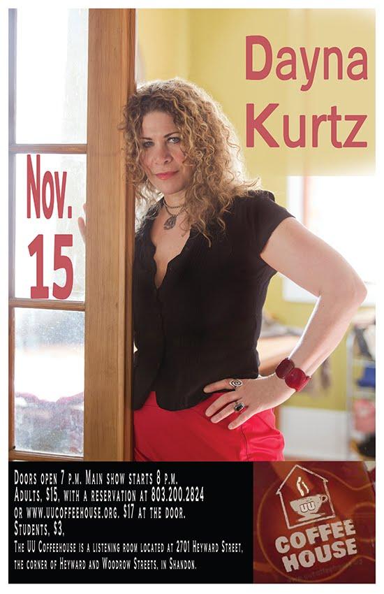 Dayna Kurtz Nov. 15 at the UU Coffeehouse