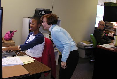 Paulette Cunningham, Melanie Baker and Don Mohr work on the Obama campaign at the S.C. Democratic headquarters Oct. 31, 2008.