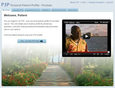 Patient home page for P3P