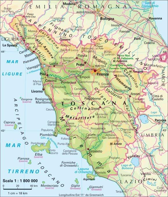 Province Della Toscana Cartina.Toscana Le Regioni D Italia A