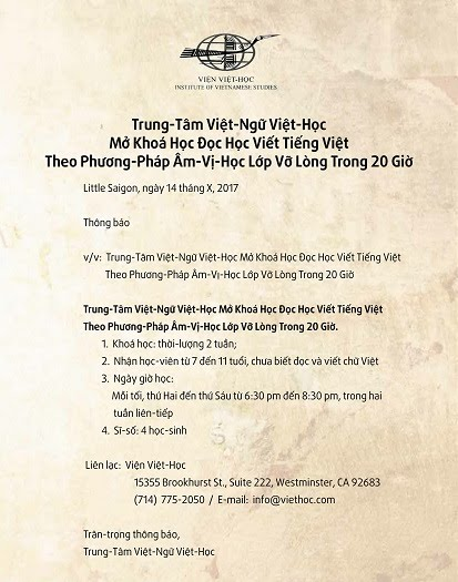 Trung-Tâm Việt-Ngữ Việt-Học Mở Khoá Học Đọc Học Viết Tiếng Việt Theo Phương-Pháp Âm-Vị-Học Lớp Vỡ Lòng Trong 20 Giờ