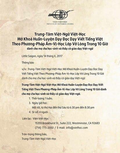 Trung-Tâm Việt-Ngữ Việt-Học Mở Khoá Huấn-Luyện Dạy Đọc Dạy Viết Tiếng Việt Theo Phương-Pháp Âm-Vị-Học Lớp Vỡ Lòng Trong 10 Giờ