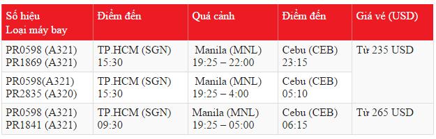 Bán vé máy bay đi Cebu hãng Philippine Airlines