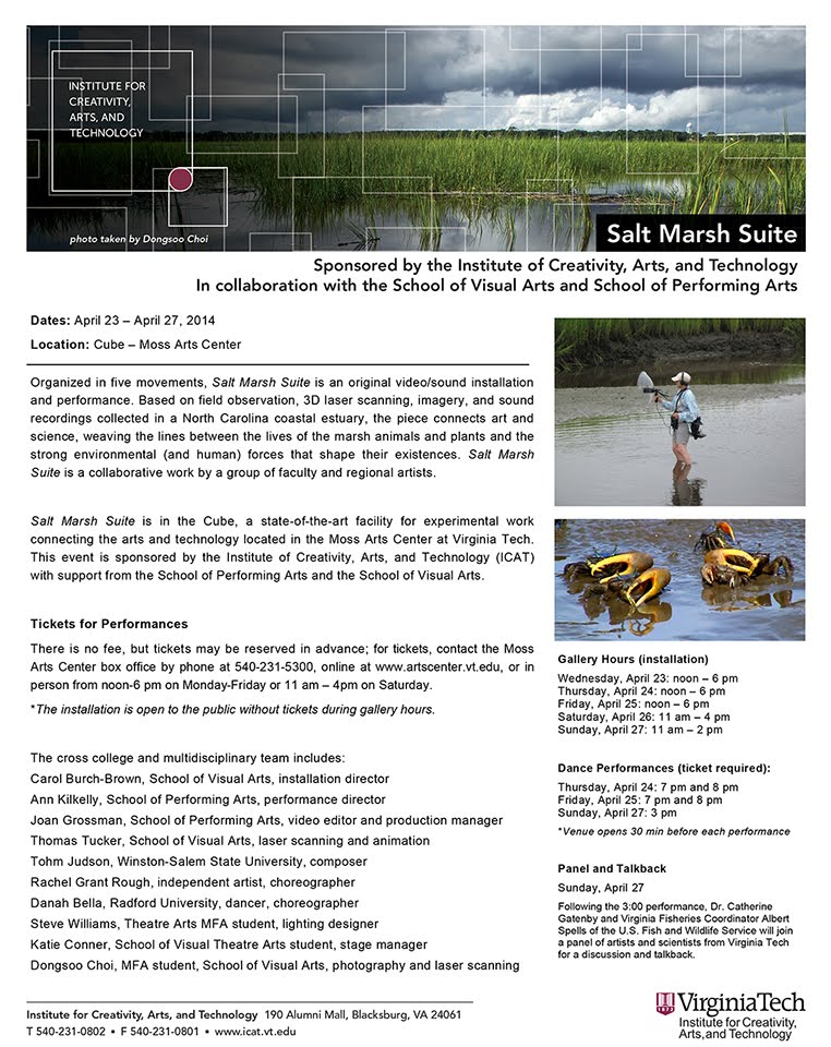 Flyer for Performances of Salt Marsh Suite at the Cube, Center for the Arts, Virginia Tech