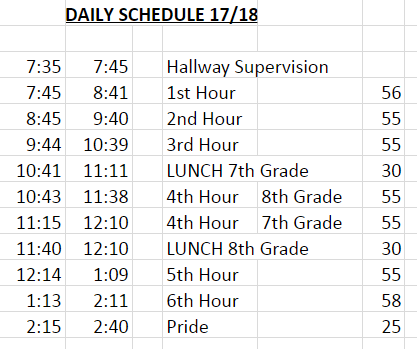 Image of Daily Schedule for 2017-2018