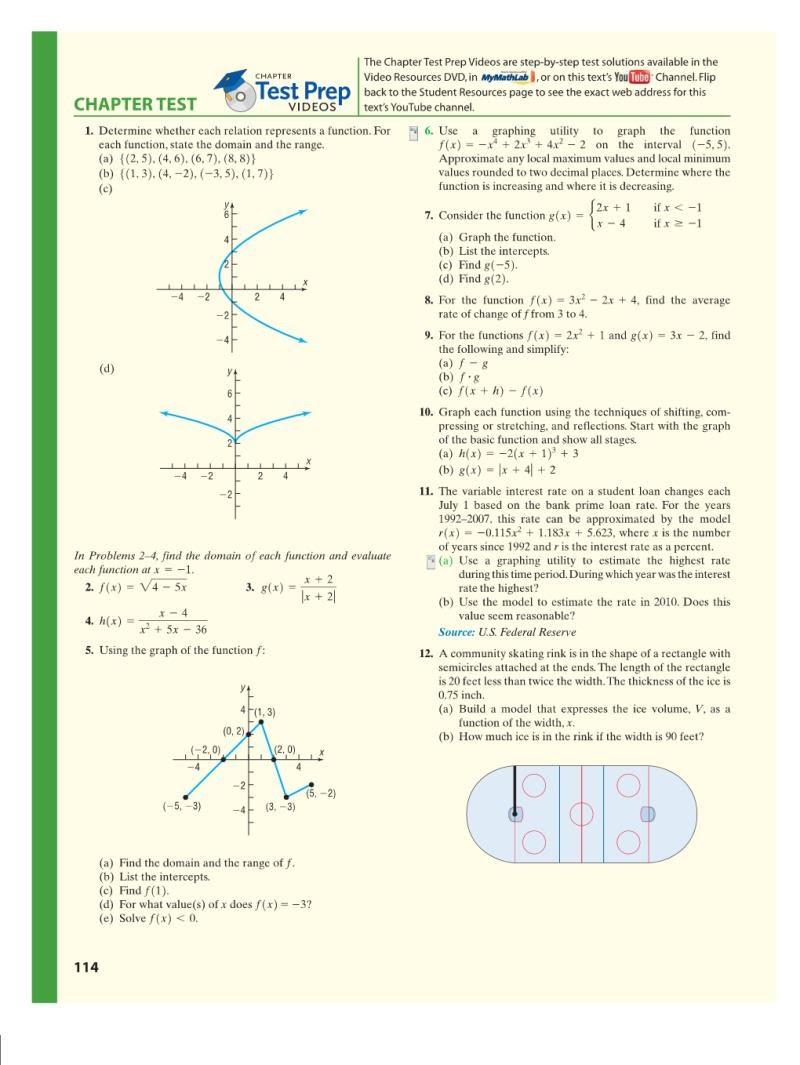 Chapter 2 Test: 1-6, 8-10 - Pre-Calculus Mr  Arthur