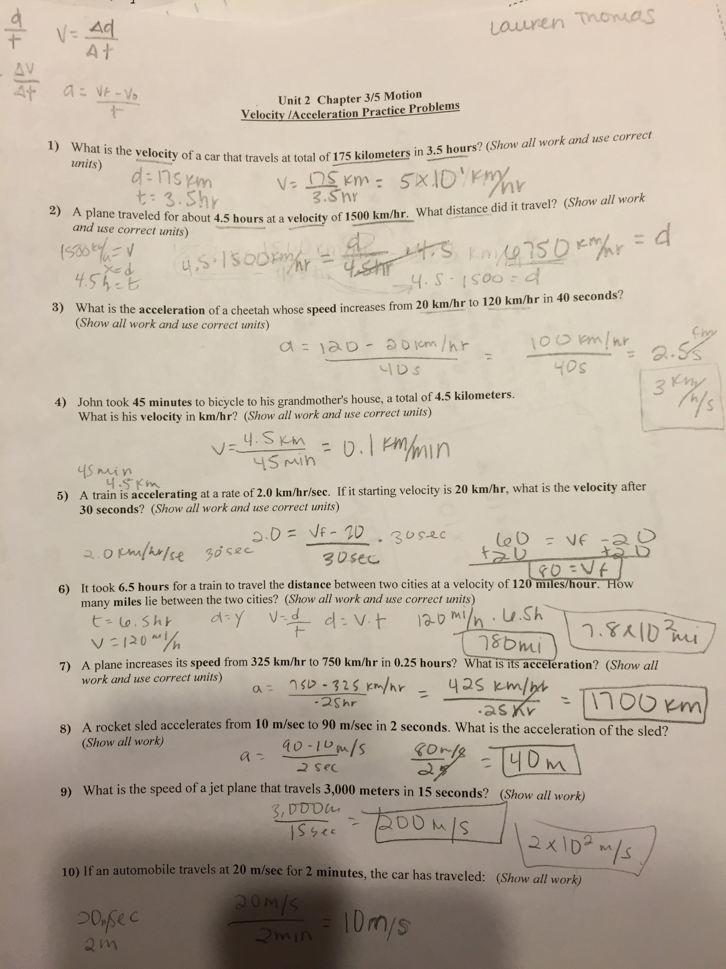 Free fall problems worksheet answers with work