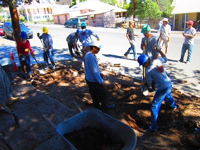 YCC Crew building an urban water management system on Spring St., Downtown Silver City, NM