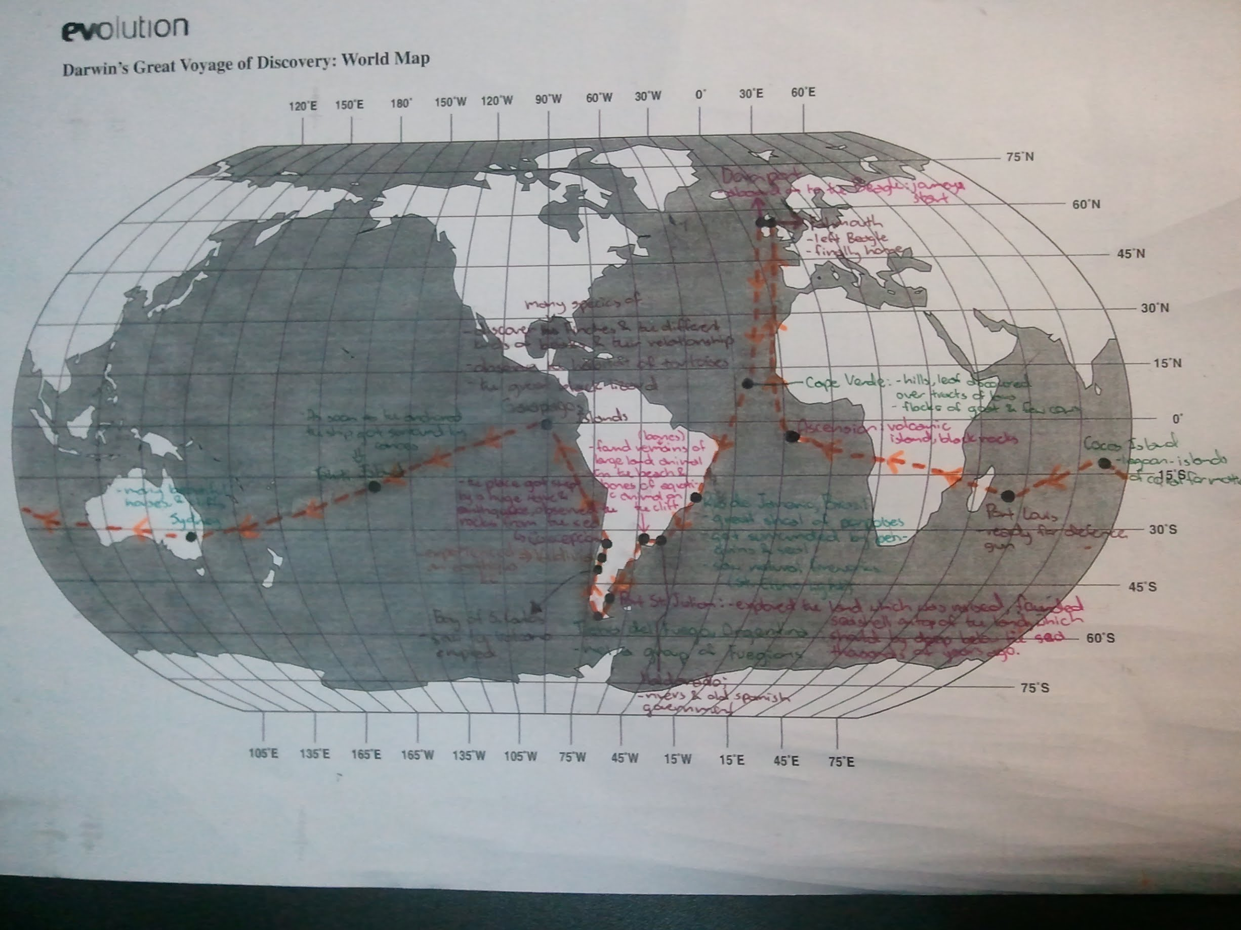 Darwin's Great Voyage of Discovery: Map   Environmental Sci.