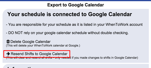 resend shifts to google calendar