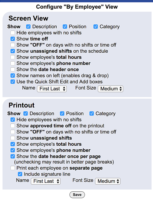 configure by employee view