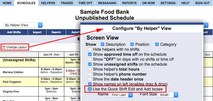 Check quick shift edit in the change layout