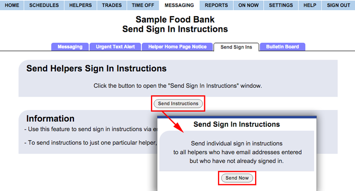 Send sign in instructions