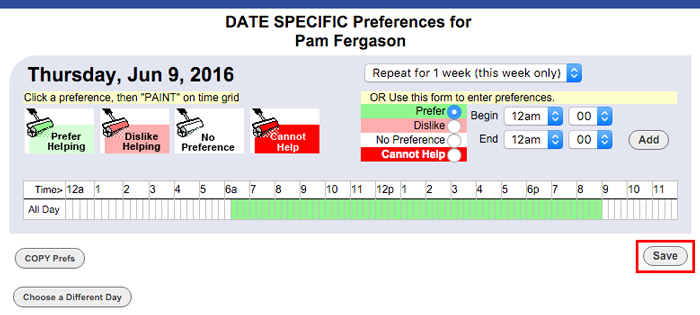 Hourly date specific preferences