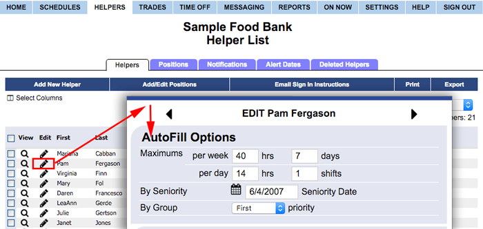 Set helper autofill options
