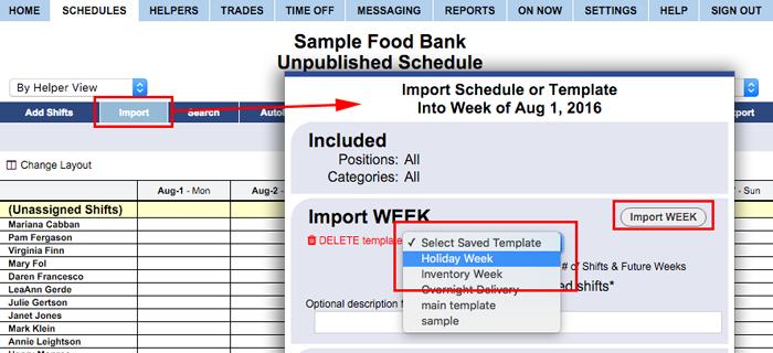 Import week template