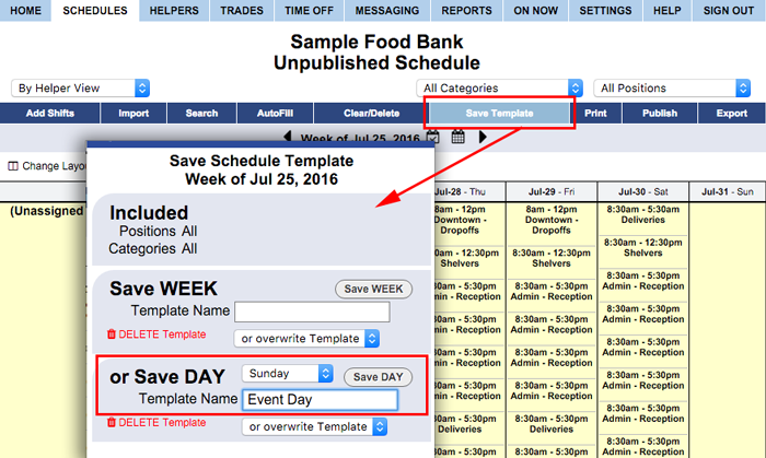 Create day template