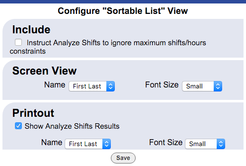 Sortable list view config