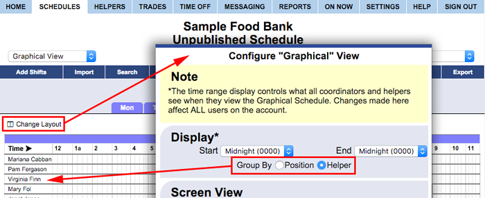 graphical view configure change layout