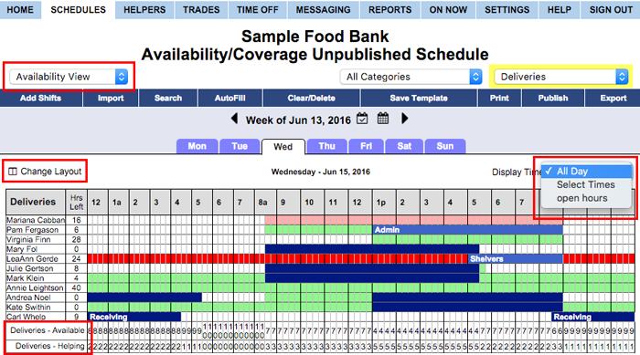 availability coverage daily view