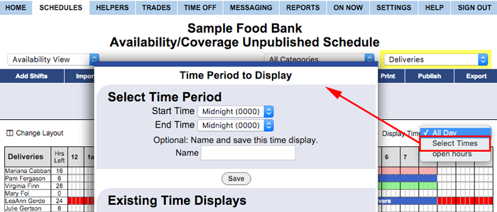 availability coverage view time period