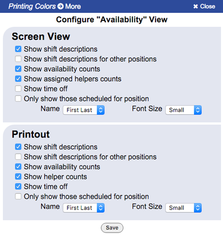 availability view configure change layout