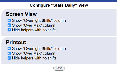 stats view daily config change layout