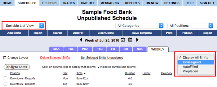 Filter sortable list view unassigned
