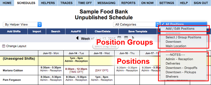 positions and position groups