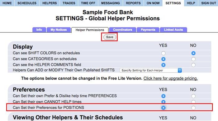 set permissions for position preferences