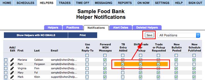 notification grid