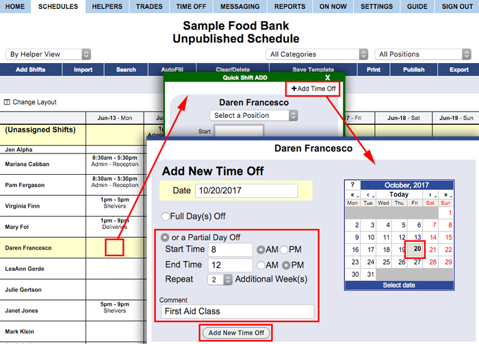 Add partial time off on the by helper view