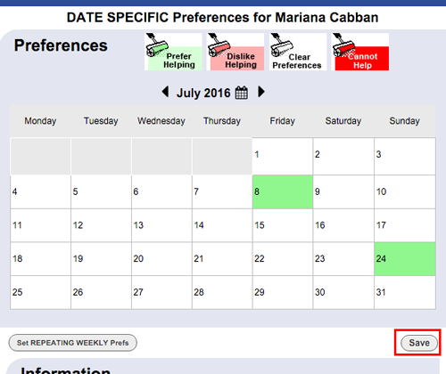 date specific preferences