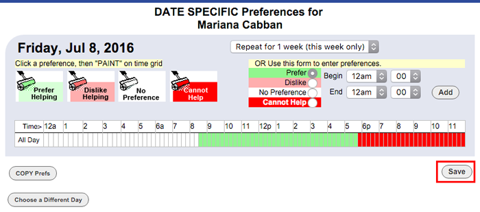 date specific preferences by hour