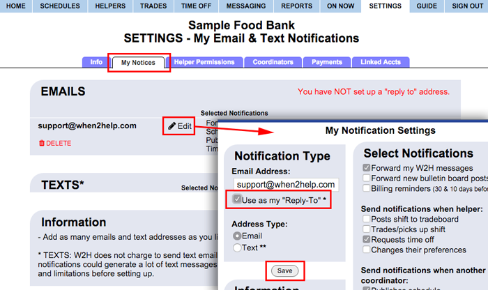 set up reply-to address
