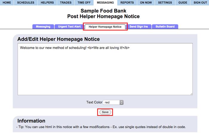 add/change helper homepage notice