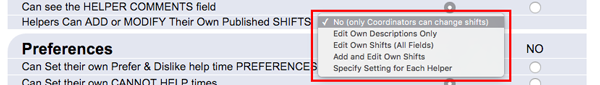 helpers can add or modify their own published shifts setting