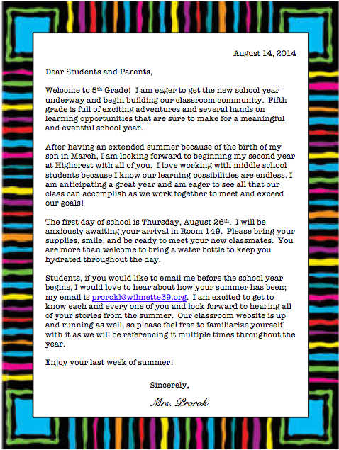 Welcome letter mrs proroks 5th grade welcome letter 2015 2016 altavistaventures Gallery
