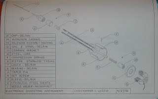 Portion of an engineering drawing for an electronic dissecting instrument showing an assembly diagram and parts list.
