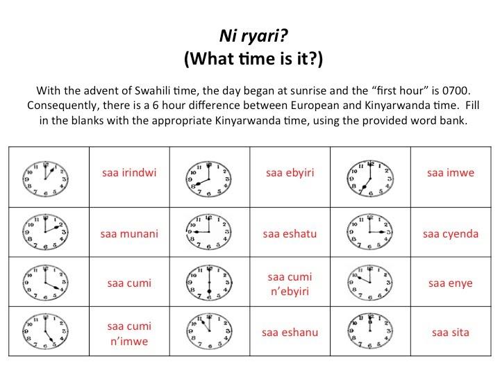 Kinyarwanda Time Worksheet (Answer Key) - Learning Kinyarwanda