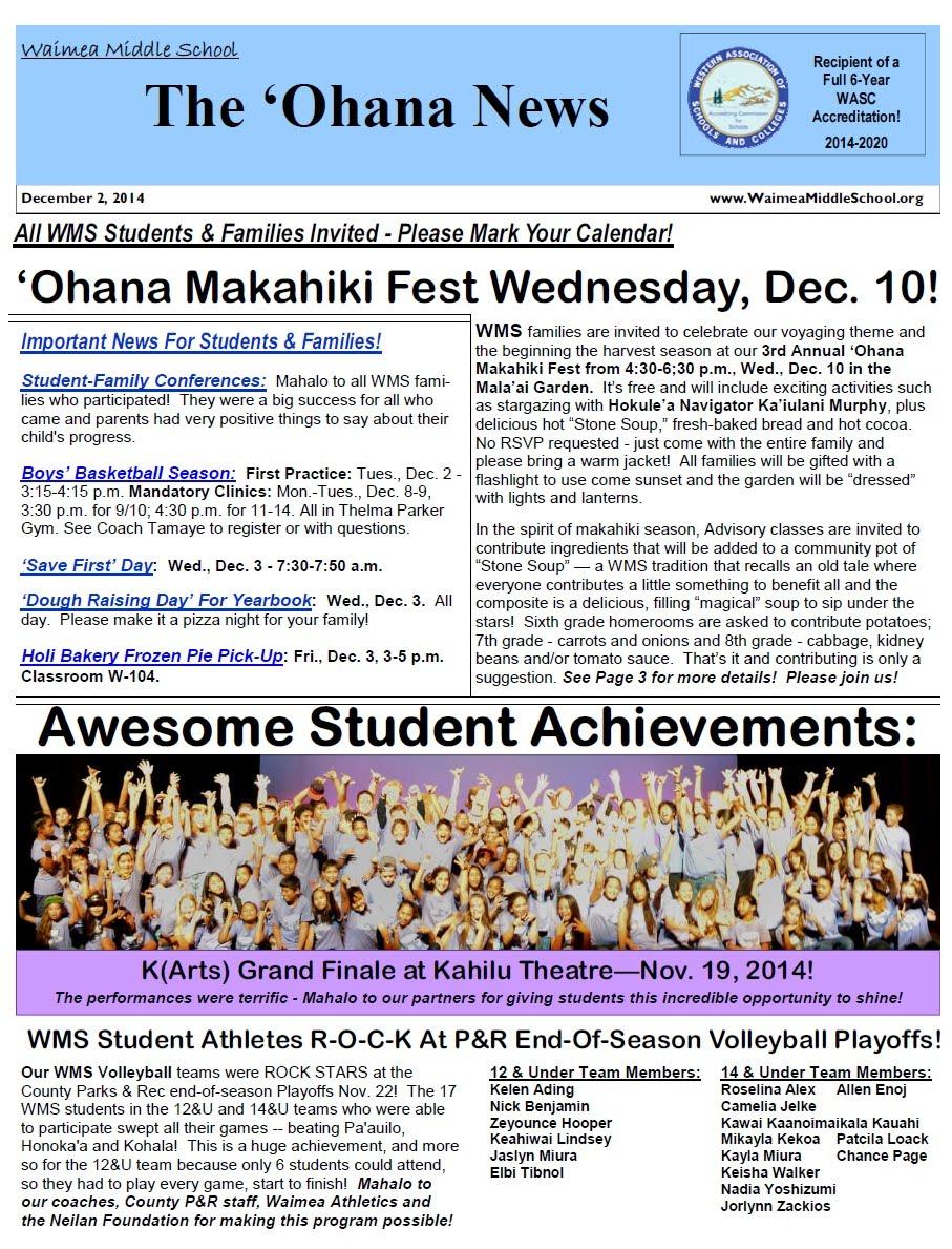 School Calendar 2014-2020 ʻOhana News 2014 15 SY   Waimea Middle School