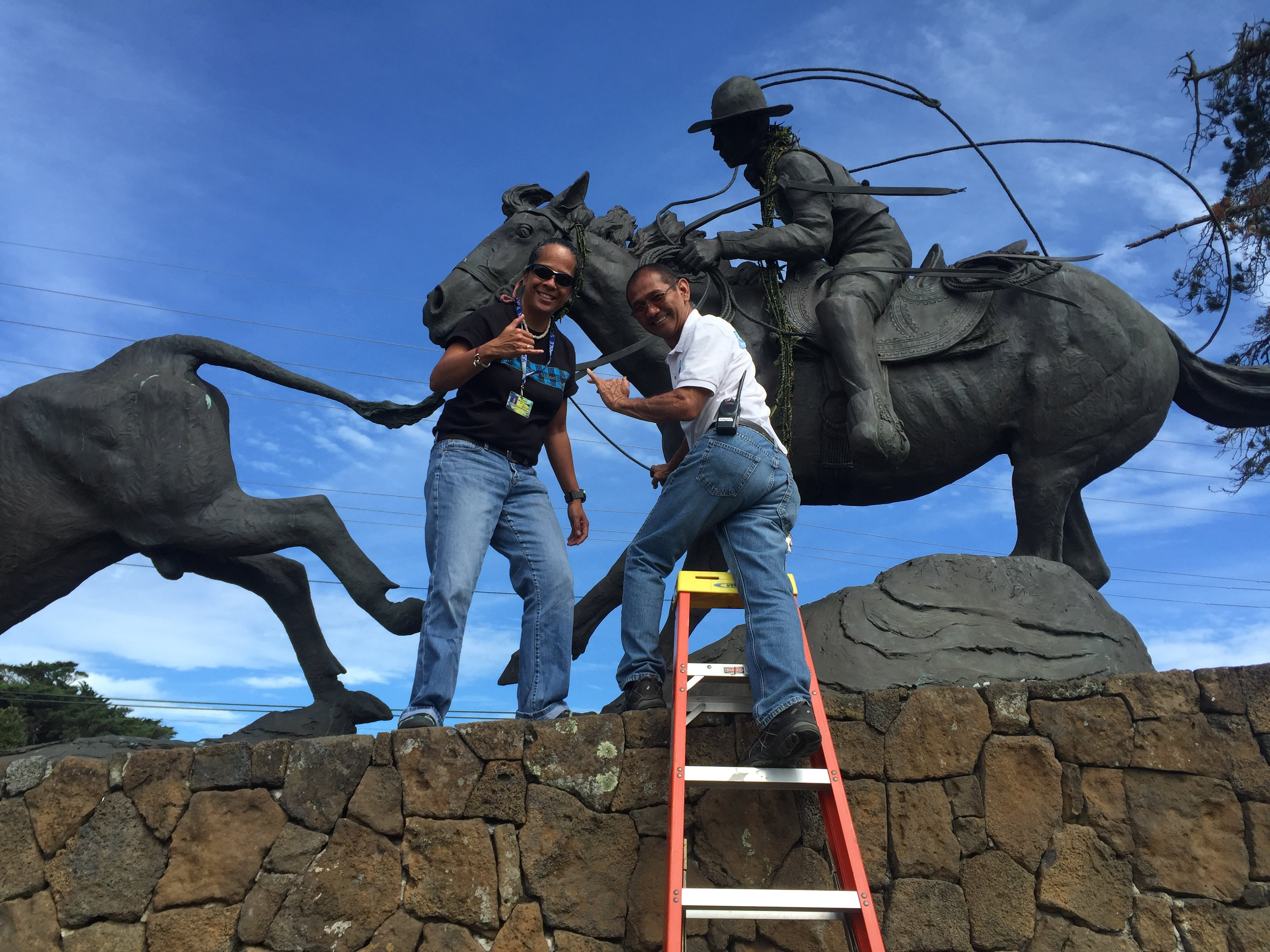 54d56d4b ABOVE: WMS students made a ti leaf lei to drape on the Ikua Purdy Monument prior  to our annual 2016 Paniolo Parade!