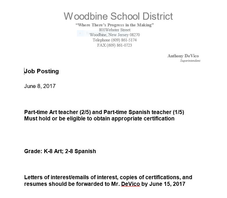 Employment Woodbine Elementary School