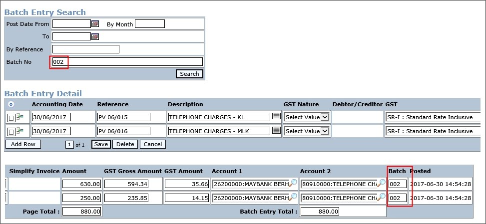 General Ledger Batch Entry - help